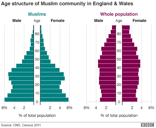 Graph comparing age of Muslim community with total population of England and Wales