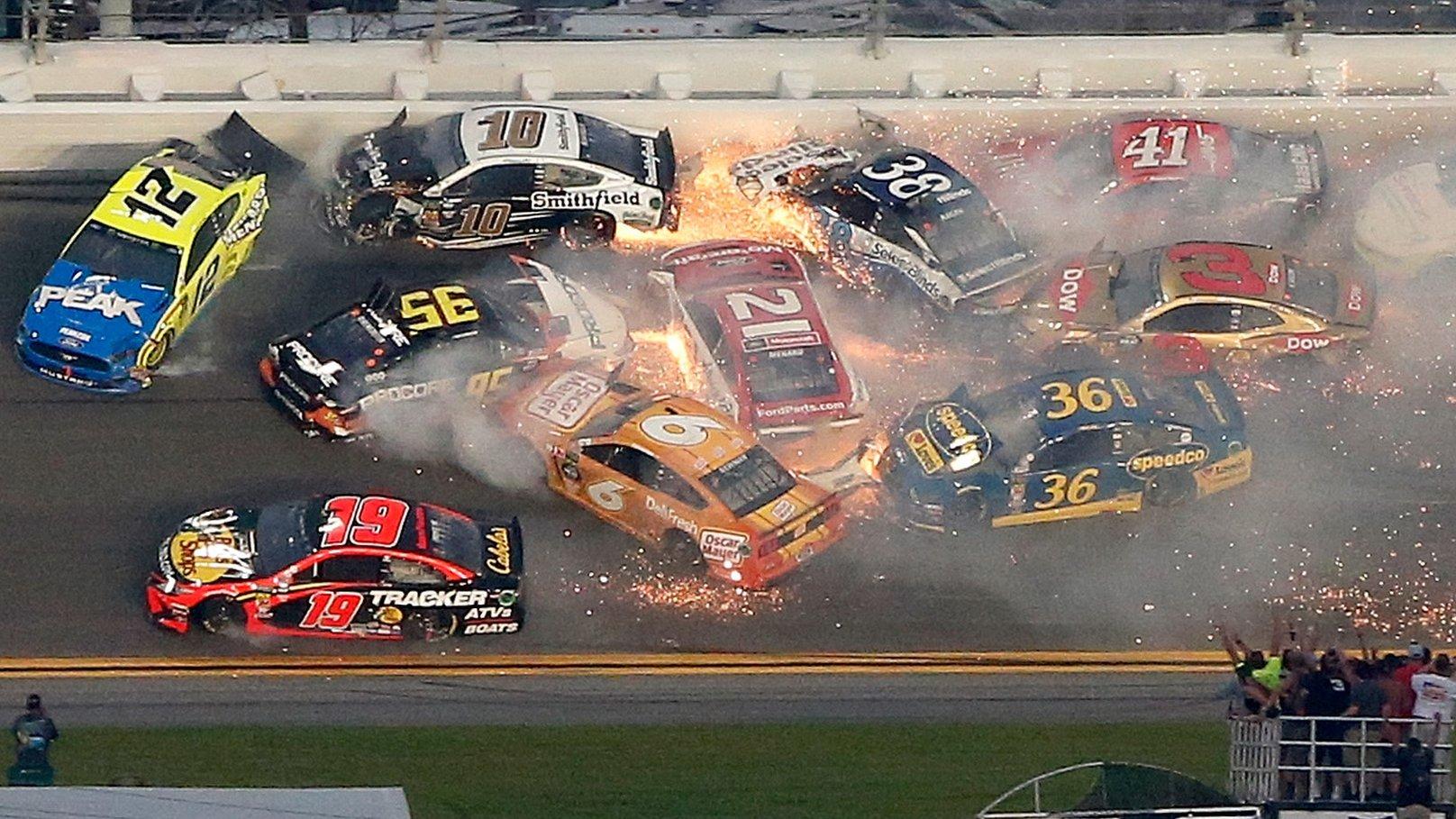 Daytona 500: Crash damages 18 cars as Denny Hamlin wins Nascar showpiece