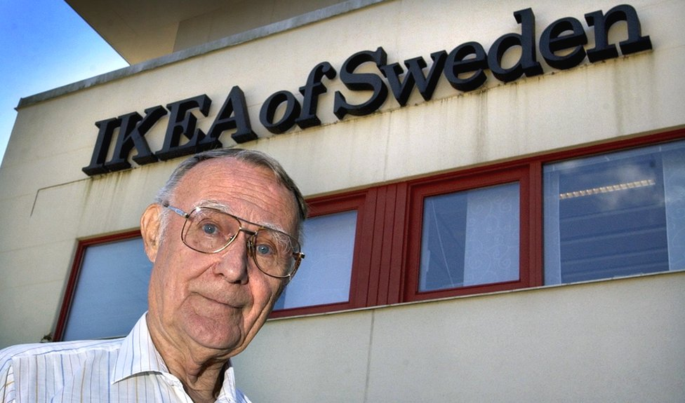 Ikea founder Ingvar Kamprad posing outside the furniture giant's headquarters in Almhult, southern Sweden, 6 August 2002