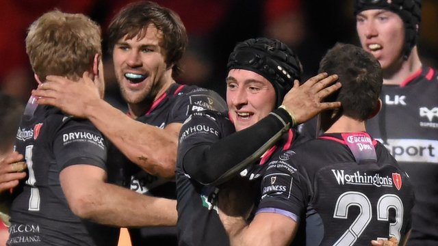 Ospreys celebrate beating Munster