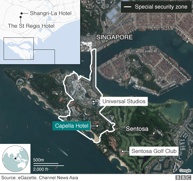 Map showing venue for Trump-Kim summit on 12 June 2018