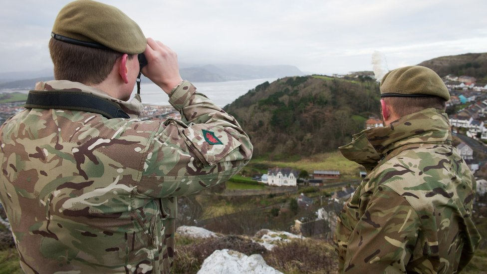 Soldiers seaching for Shenkin the goat in the Great Orme