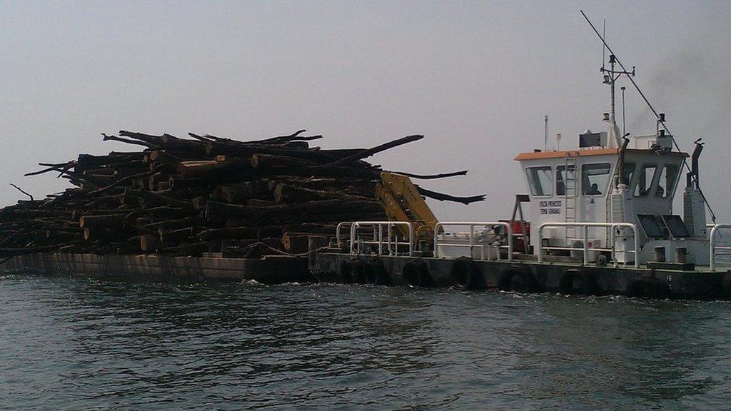 La madera es cargada encima de una barcaza, luego de ser extraída del lago.