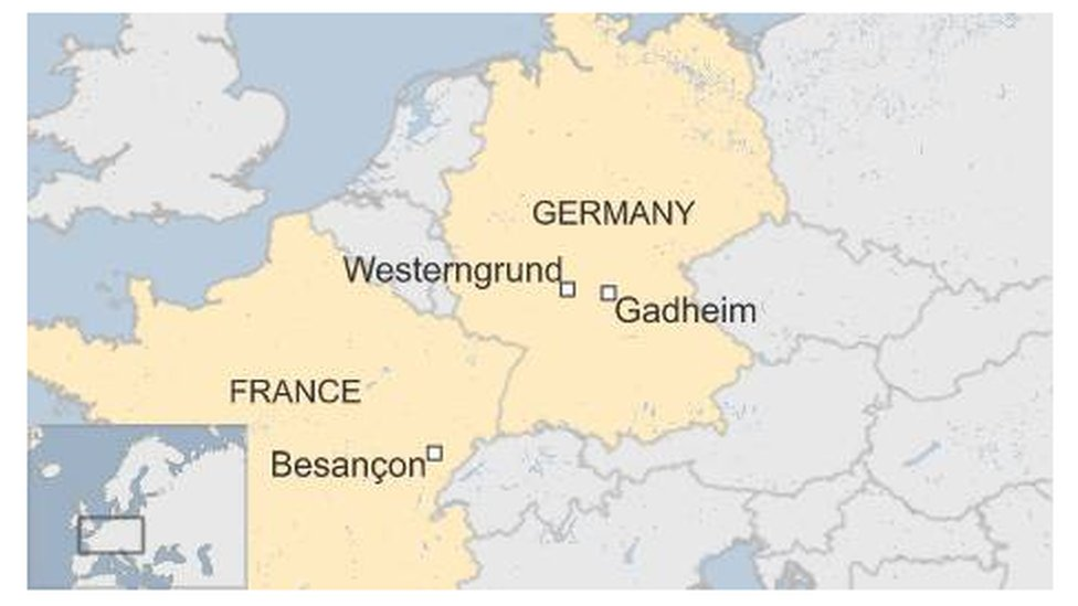 Map showing Besancon in France, Westerngrund and Gadheim in Germany