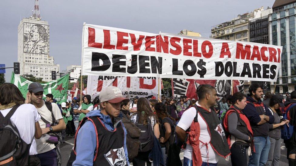Protesta contra Macri.