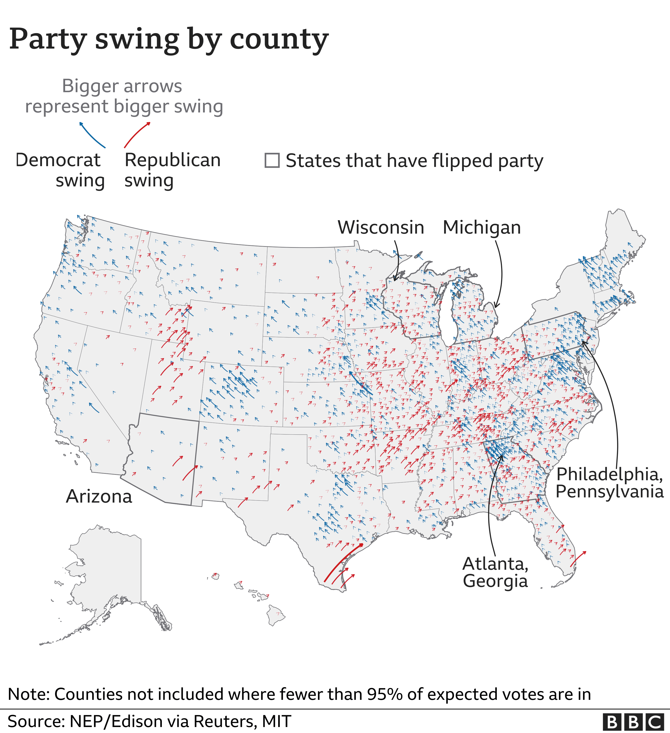 Share change by county - Trump increased his lead in states where he already had a lot of support