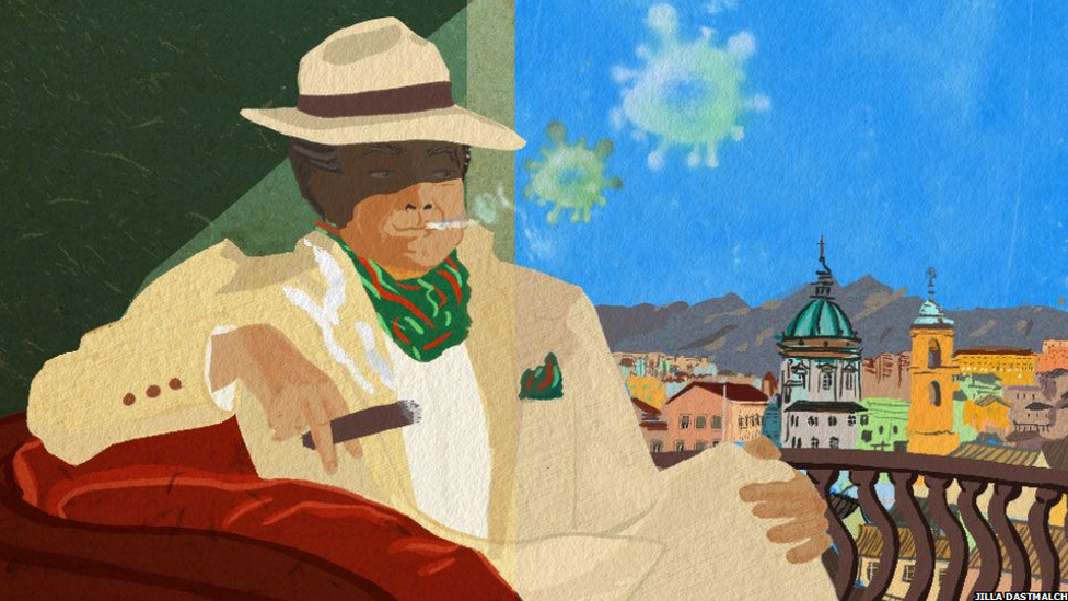 A mafia member smoking a cigar. The smoke coming out of it is green, and resembles a virus. He is overlooking the Sicilian city of Palermo.
