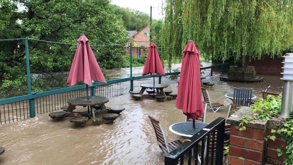 The garden of The Alyn pub in Wrexham