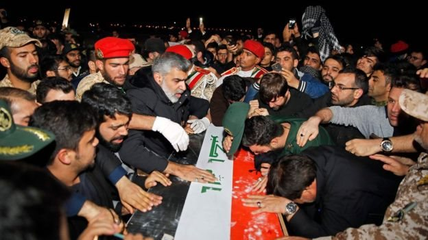 Mourners fought to get close to the casket of Soleimani at Ahvaz airport