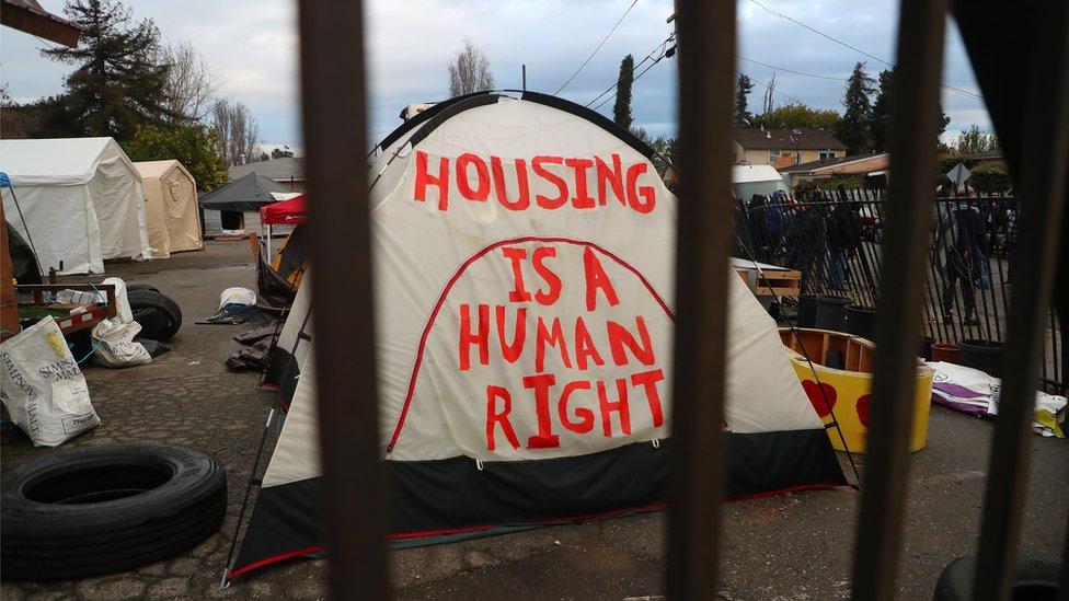 Tent at Oakland homeless encampment