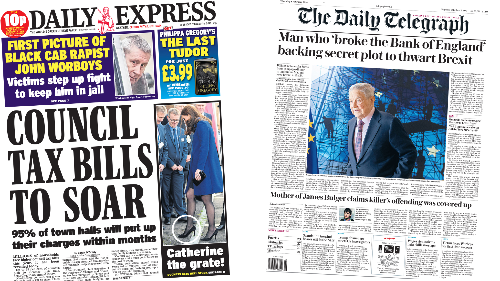 Daily Express and Daily Telegraph front pages for 08/02/18