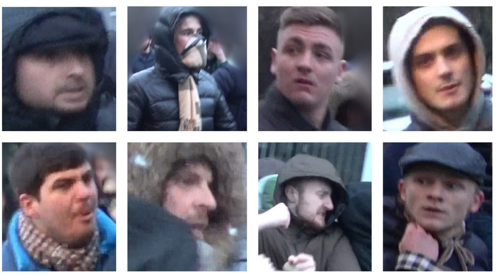 Millwall v Everton: Pictures of 12 men wanted over violence released