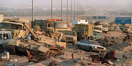 Abandoned vehicles of Iraqis fleeing Kuwait