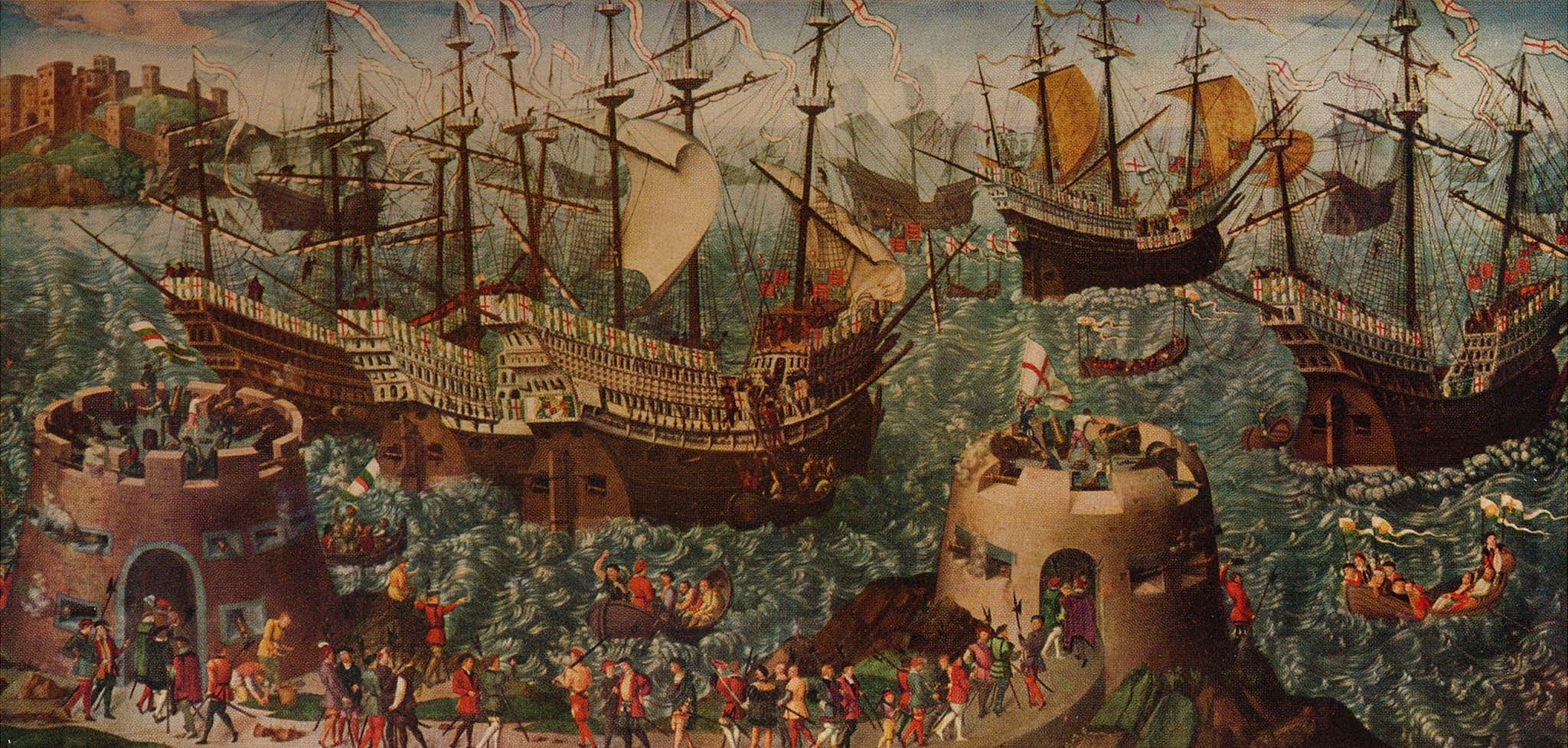 """El embarque en Dover. Enrique VIII y su flota zarparon de Dover a Calais el 31 de mayo de 1520 en camino para encontrarse con Francisco I en el Campo del paño de oro. Pintura de """"Aventuras por el mar del arte de los viejos tiempos"""", por Basil Lubbock."""