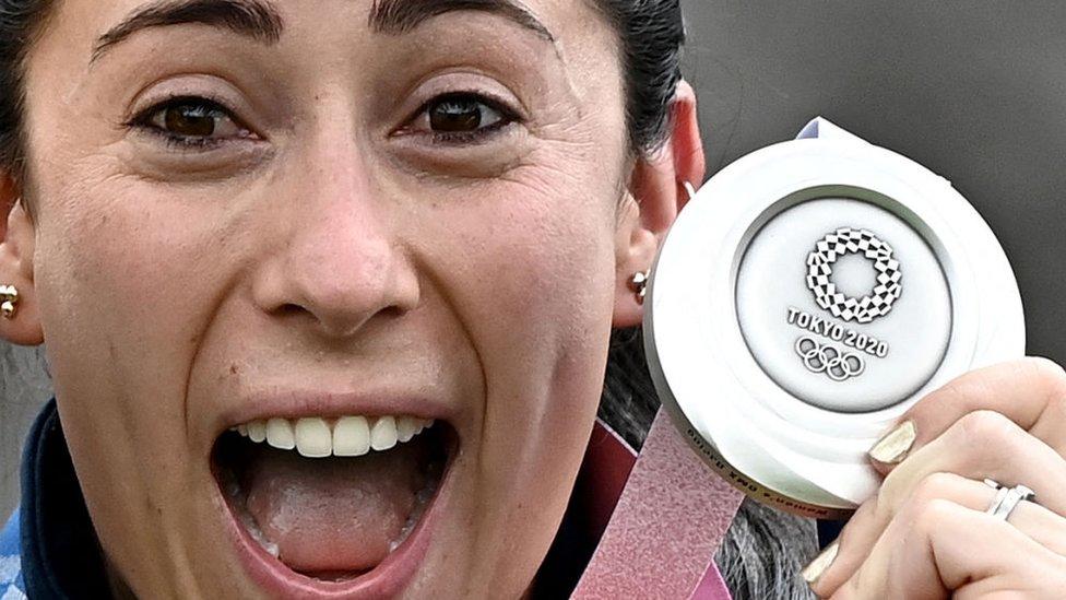Mariana Pajón con su medalla de plata