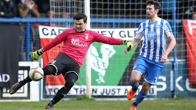 Match action from Coleraine against Glentoran