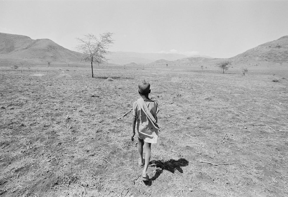 A boy in search of food during the 1984 famine
