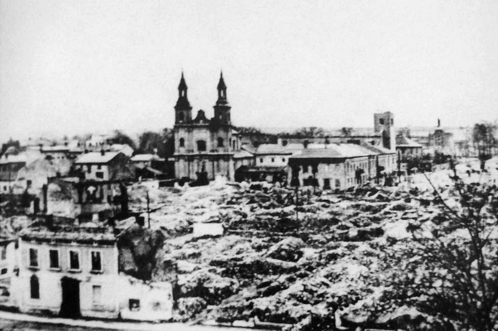 The centre of Wielun in Poland, a short distance from the German border, after the bombardment of 1 September 1939