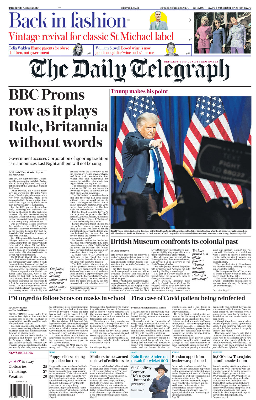 Daily Telegraph front page