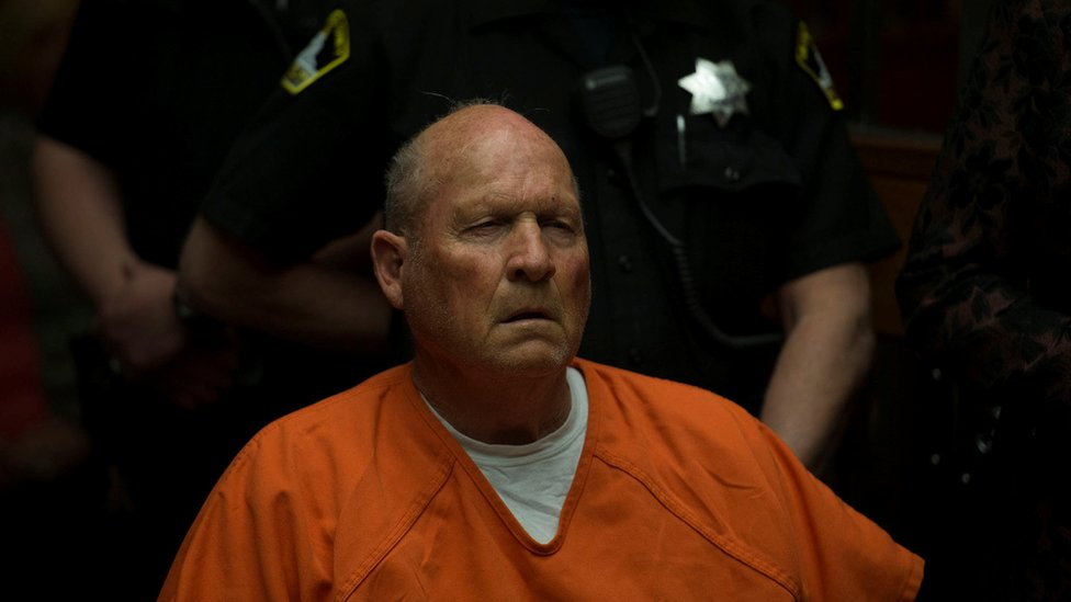 Joseph James DeAngelo, 72, who authorities said was identified by DNA evidence as the Golden State Killer, appears at his arraignment in California Superior court