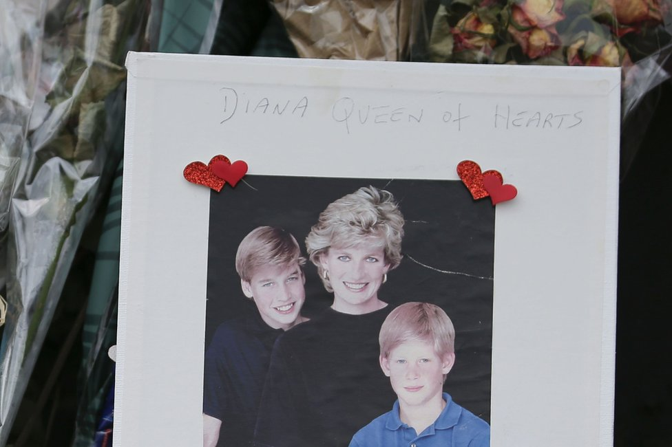 "A picture of Diana, William and Harry entitled ""Queen of Hearts"""