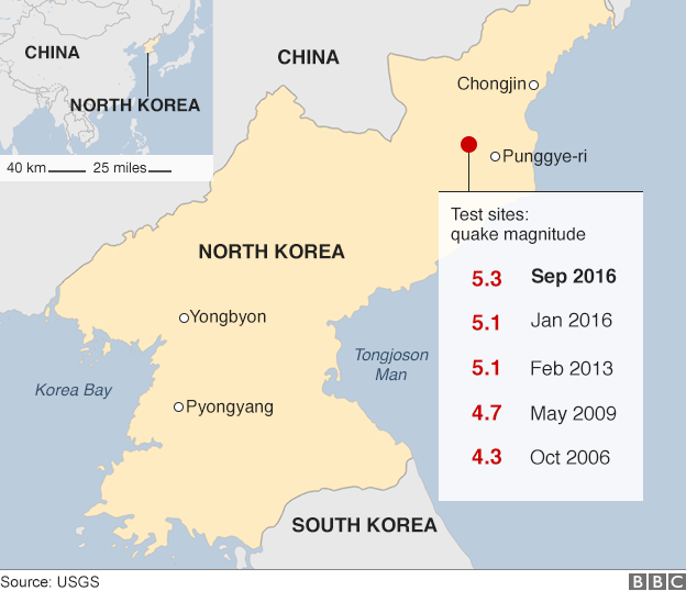 A map of previous North Korean nuclear tests