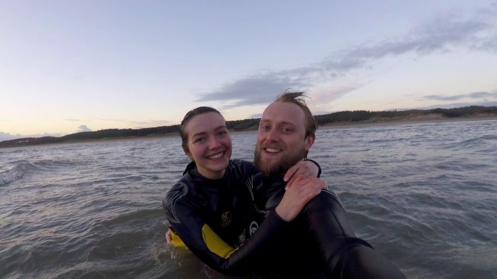 Beth and Andrew in the sea