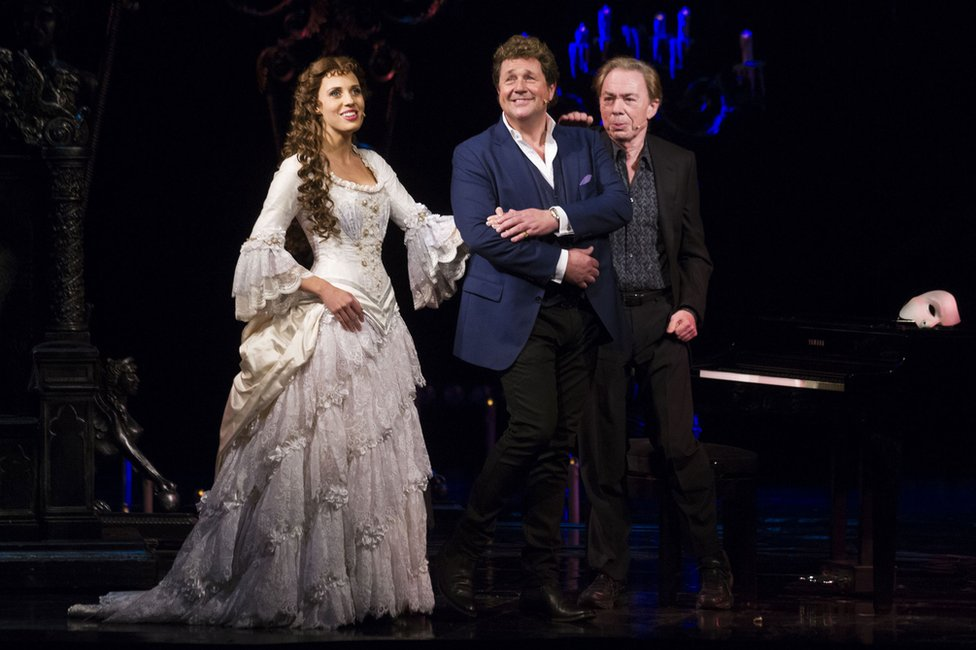 Celinde Schoenmaker and Michael Ball with Andrew Lloyd Webber