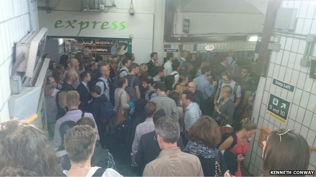 Crowds of passengers at Clapham Junction
