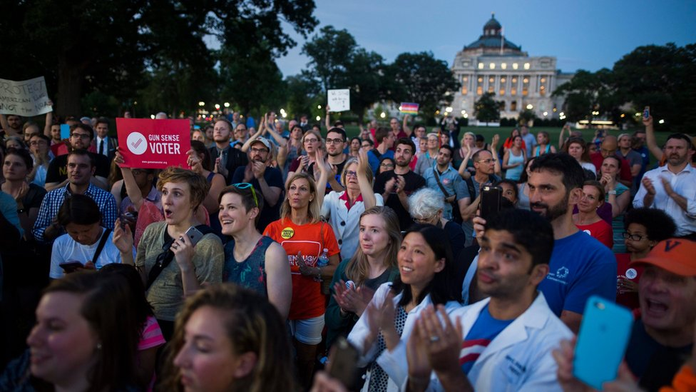 """Public supporters of Democratic members of Congress staging a """"sit-in"""" on the House floor to demand a vote on gun restrictions gather on the East Front of the US Capitol in Washington, DC, USA, 22 June 2016."""