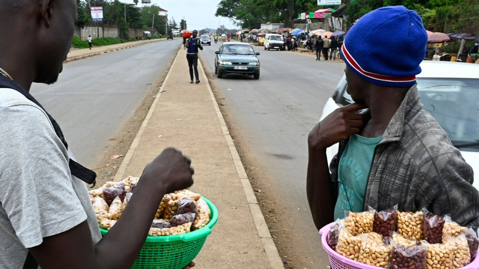 Streets vendors sell groundnuts on the roadside in Nairobi