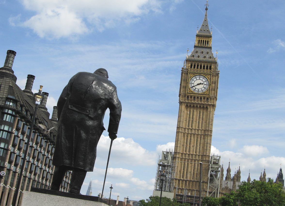 Big Ben with Winston Churchill's statue