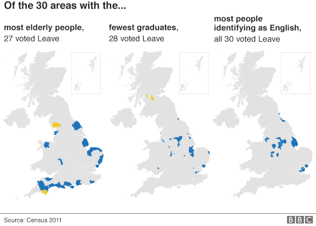 Areas that voted to Leave graphic