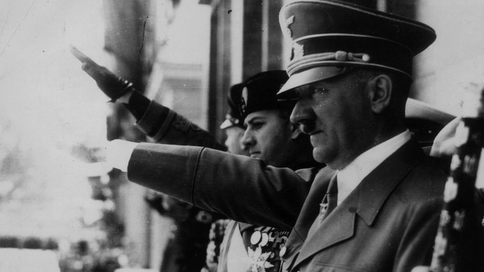 Adolf Hitler gives a Heil Hitler Salute