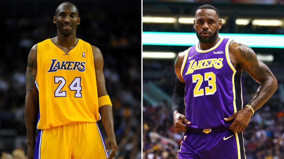 Kobe Bryant (left) and LeBron James (right)