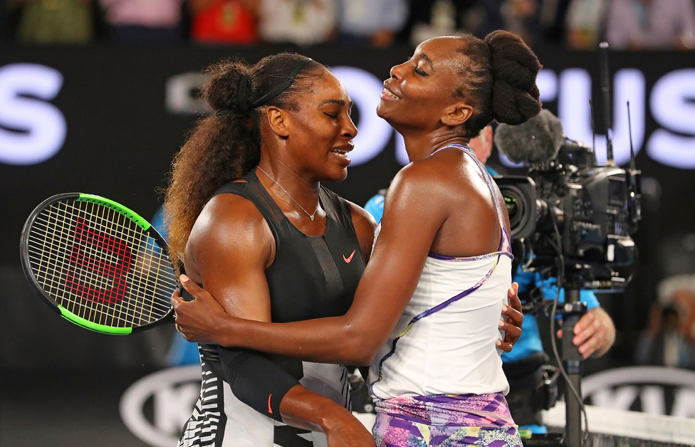 Serena Williams is congratulated by Venus Williams after winning the Women's Singles Final match against on day 13 of the 2017 Australian Open on January 28, 2017 in Melbourne, Australia. (Photo by Scott Barbour/Getty Images)