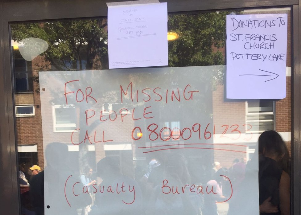 Signs in a window for donations