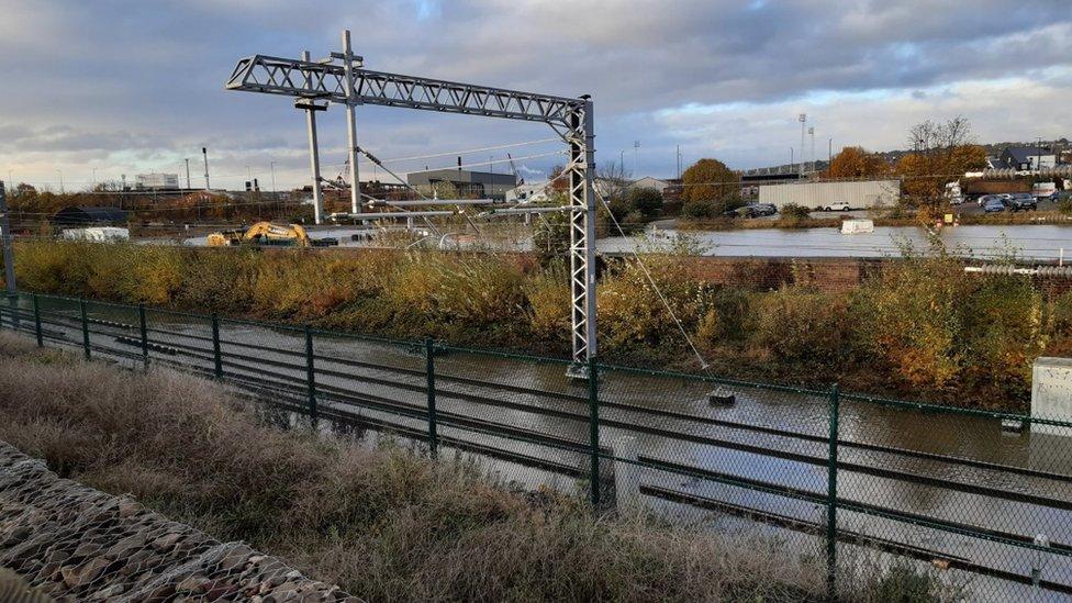 Flooded rail tracks around the New York Stadium in Rotherham