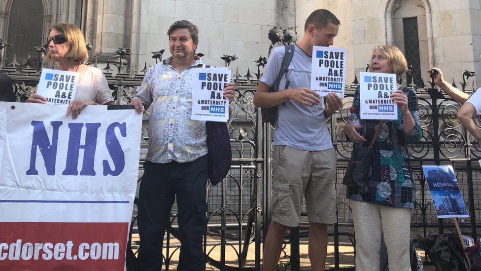 Campaigner outside the High Court