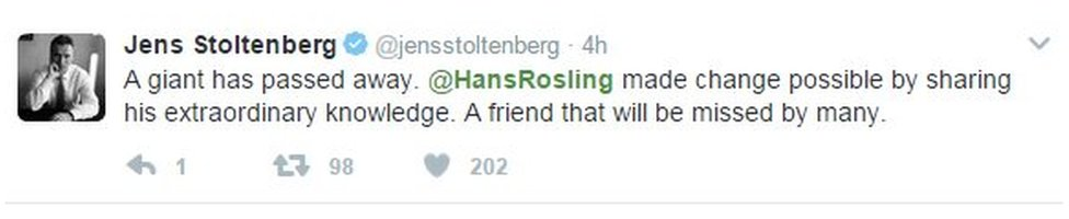 Tweet: A giant has passed . Hans Rosling made change possible by sharing his extraordinary knowledge. A friend that will be missed by many