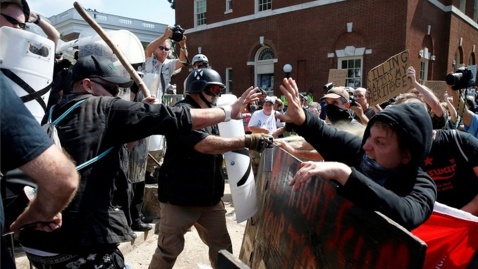 White supremacists clash with counter protesters at a rally in Charlottesville, Virginia, U.S., August 12, 2017.