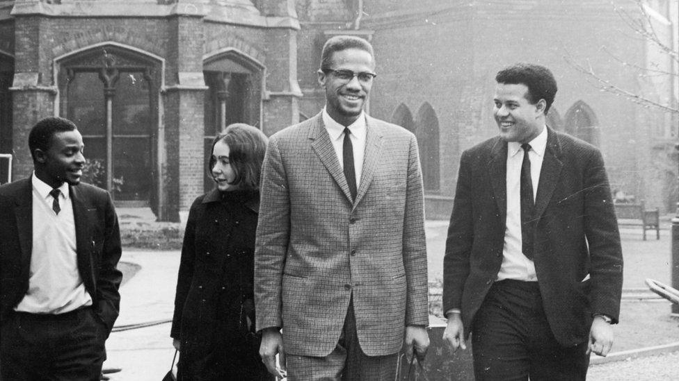 Eric Anthony Abrahams (right) with Malcolm X in Oxford, December 1964