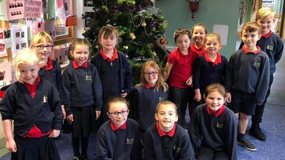 Pupils at Ysgol Gymuned Rhosybol, Anglesey