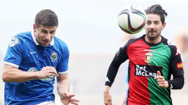 Match action from Linfield against Glentoran at Windsor Park