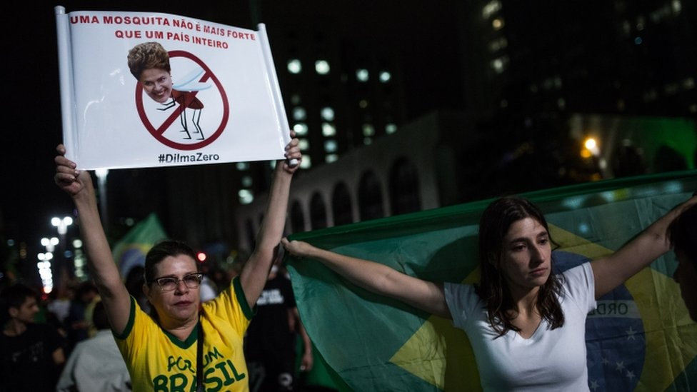 Demonstrators protest for the impeachment of President Dilma Rousseff and also against corruption being investigated involving resource diversion and money laundering in Petrobras scandal of corruption on 16 March 16 in Sao Paulo