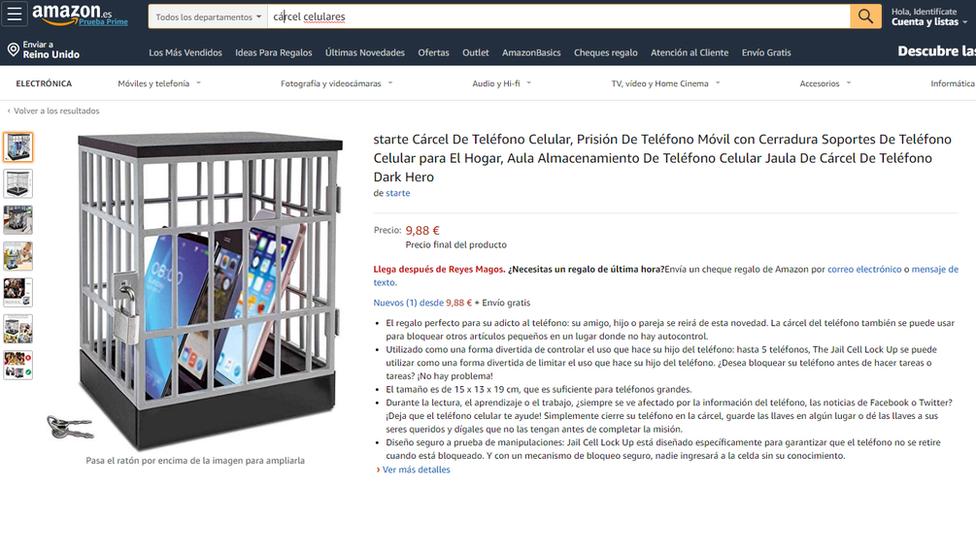 Página de Internet donde se venden cárceles para celulares