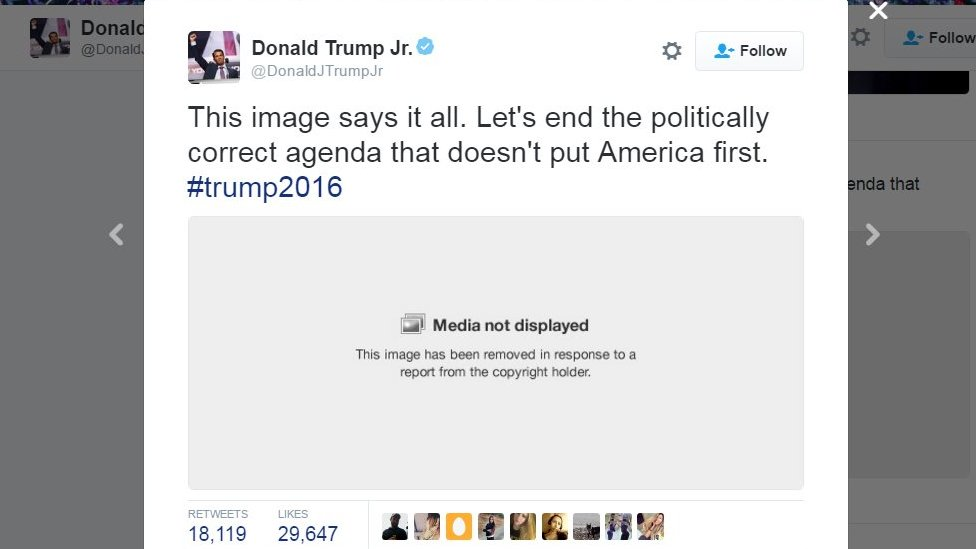 Trump Jr S Skittles Graphic Deleted From Twitter Bbc News