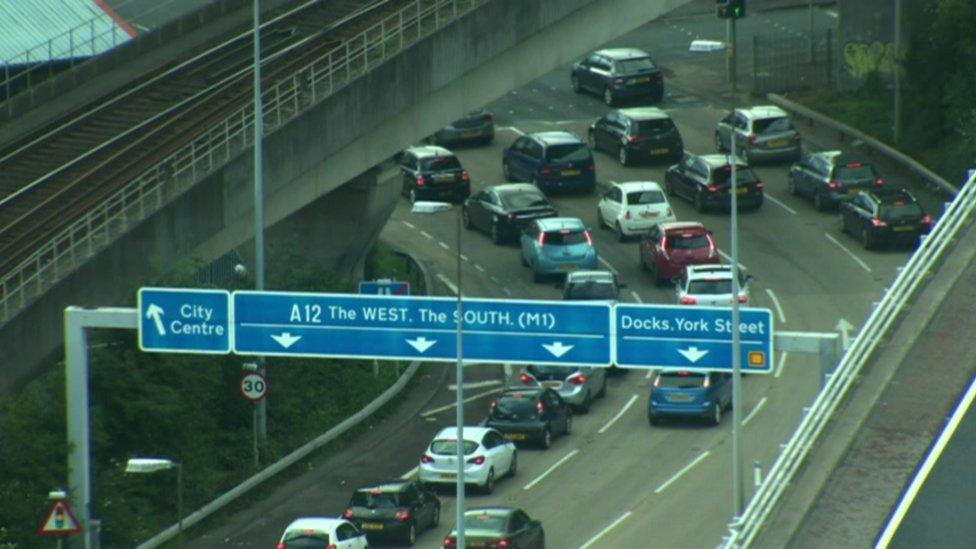 Traffic on a road in Belfast