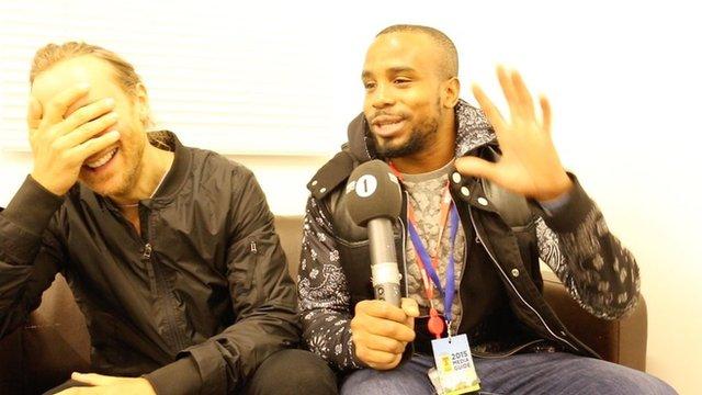 David Guetta chatting to Newsbeat's Nesta McGregor