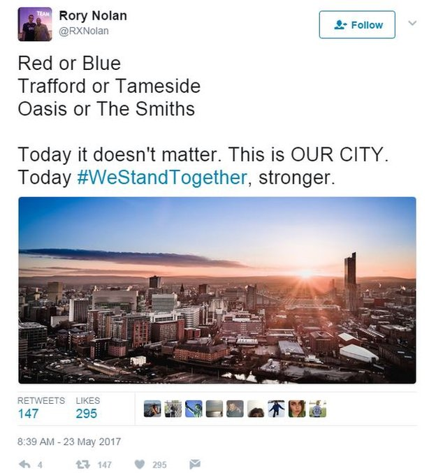 """Tweet by Rory Nolan: """"Red or Blue, Oasis or the Smiths ... Today it doesn't matter. This is OUR CITY. Today we stand together."""""""